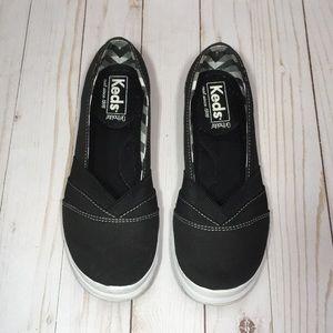 Ked's black with white slip on